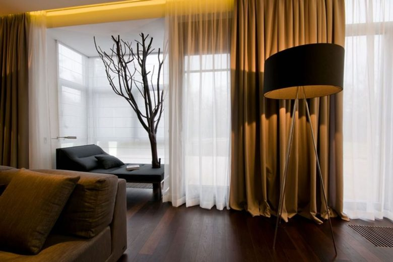 brown curtains in living