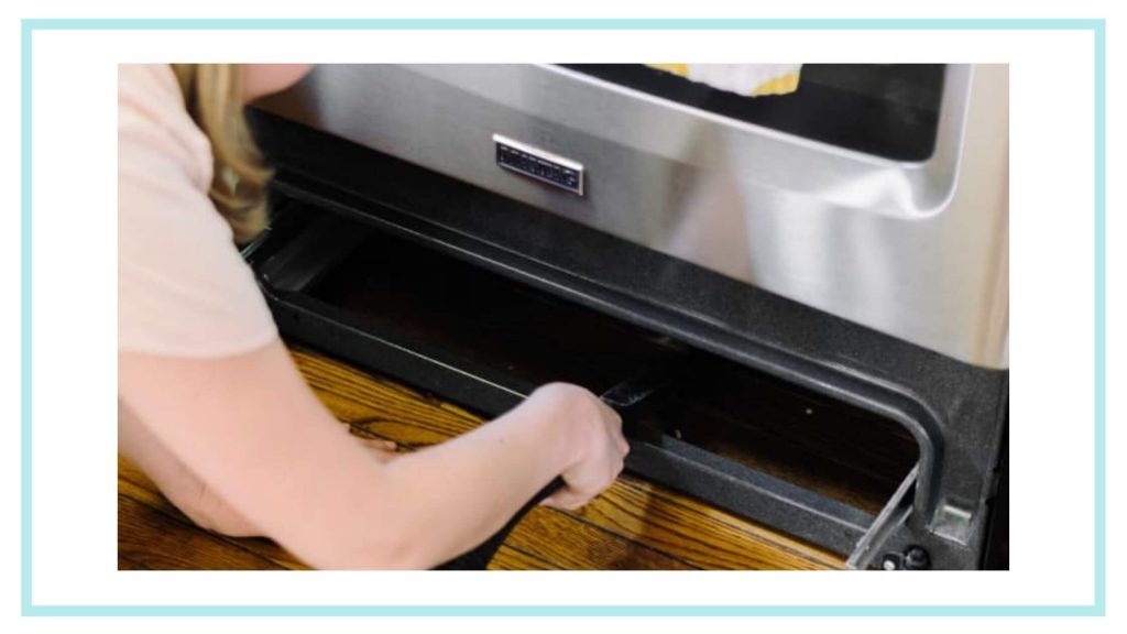 vacuum all the dirt under the oven drawer